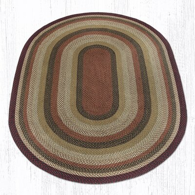 Burgundy/Mustard/Ivory Braided Area Rug Rug Size: Oval 8 x 11