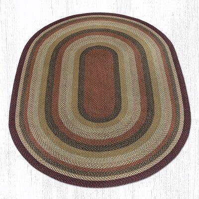 Burgundy/Mustard/Ivory Braided Area Rug Rug Size: Oval 8 x 11