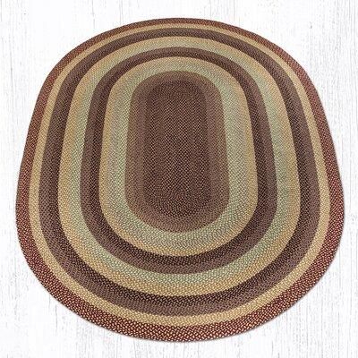 Burgundy/Gray/Cr�me Braided Area Rug Rug Size: Oval 8 x 11