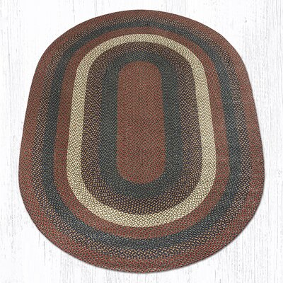 Burgundy/Gray Braided Area Rug Rug Size: Oval 6 x 9