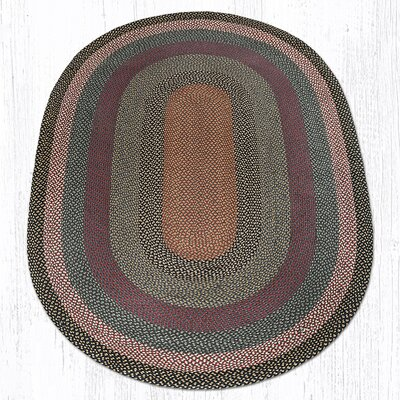 Burgundy/Blue/Gray Braided Area Rug Rug Size: Oval 6 x 9