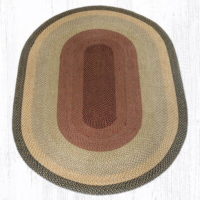 Burgundy/Gray/Cr�me Braided Area Rug Rug Size: Oval 6 x 9
