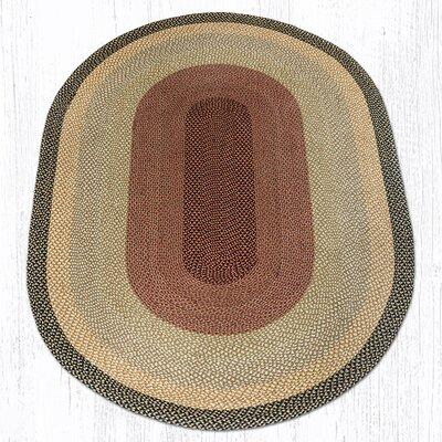 Burgundy/Gray/Cr�me Braided Area Rug Rug Size: Oval 6 x 9
