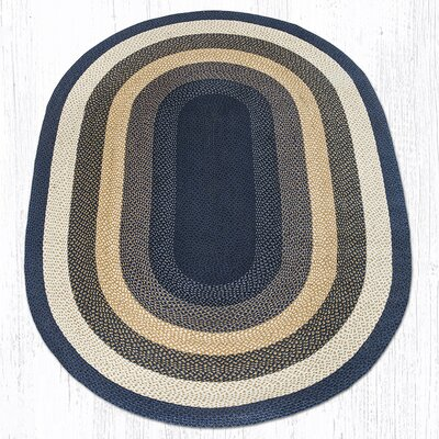Light Blue/Dark Blue/Mustard Braided Area Rug Rug Size: Oval 6 x 9