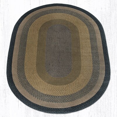 Brown/Black/Charcoal Braided Area Rug Rug Size: Oval 6 x 9