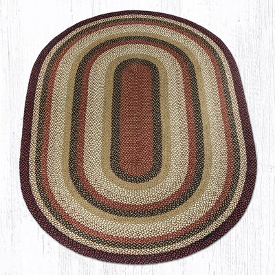 Burgundy/Mustard/Ivory Braided Area Rug Rug Size: Oval 6 x 9