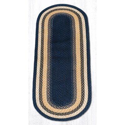 Light Blue/Dark Blue/Mustard Braided Area Rug Rug Size: Oval Runner 2 x 6