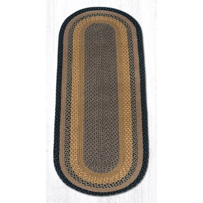 Brown/Black/Charcoal Braided Area Rug Rug Size: Oval Runner 2 x 6