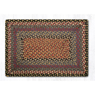 Burgundy/Blue/Gray Braided Area Rug Rug Size: 18 x 26