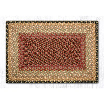 Burgundy/Gray/Cr�me Braided Area Rug Rug Size: 18 x 26