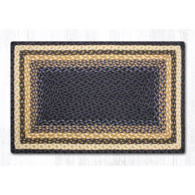 Light Blue/Dark Blue/Mustard Braided Area Rug Rug Size: 18 x 26
