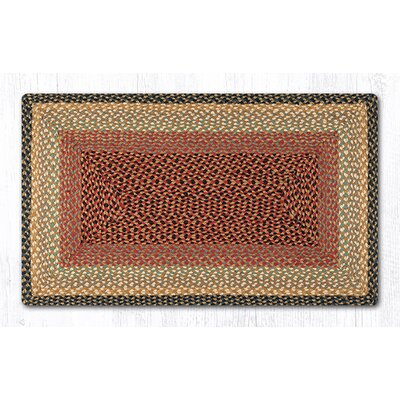 Burgundy/Gray/Cr�me Braided Area Rug Rug Size: Rectangle 23 x 39