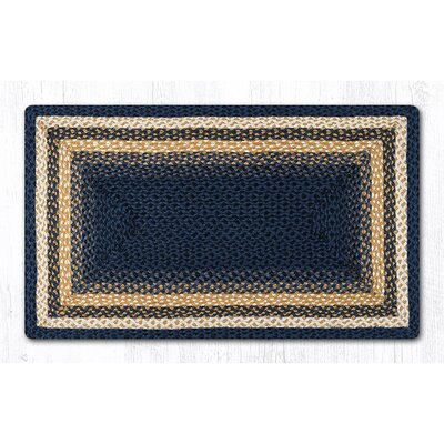 Light Blue/Dark Blue/Mustard Braided Area Rug Rug Size: 23 x 39
