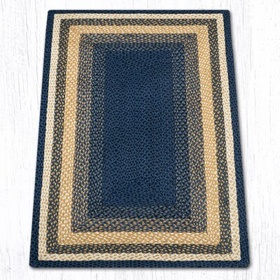 Light Blue/Dark Blue/Mustard Braided Area Rug Rug Size: Rectangle 3 x 5