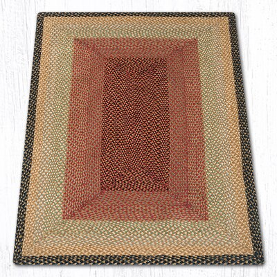 Burgundy/Gray/Cr�me Braided Area Rug Rug Size: 4 x 6