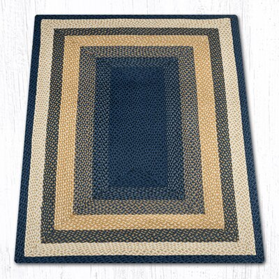 Light Blue/Dark Blue/Mustard Braided Area Rug Rug Size: 4 x 6