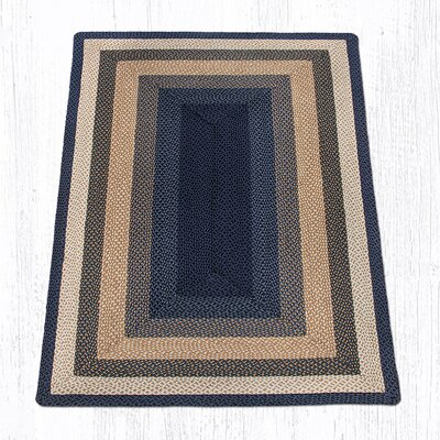 Light Blue/Dark Blue/Mustard Braided Area Rug Rug Size: 5 x 8