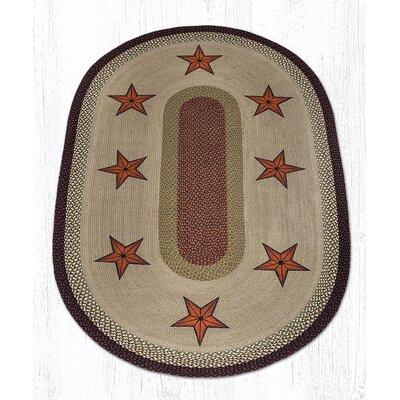 Barn Stars Printed Area Rug Rug Size: Oval 4 x 6