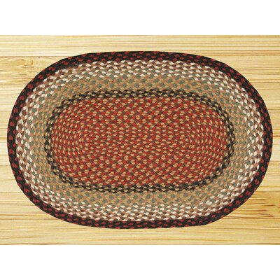 Braided Burgundy/Mustard Area Rug Rug Size: Oval 18 x 3