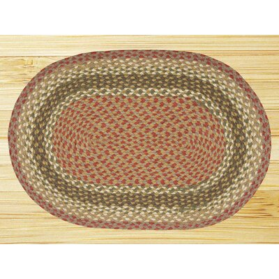 Braided Olive/Burgundy Area Rug Rug Size: Oval 18 x 3