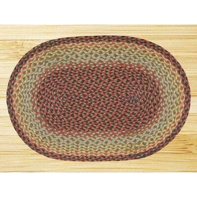 Burgundy/Black/Sage Braided Area Rug Rug Size: Oval 18 x 26