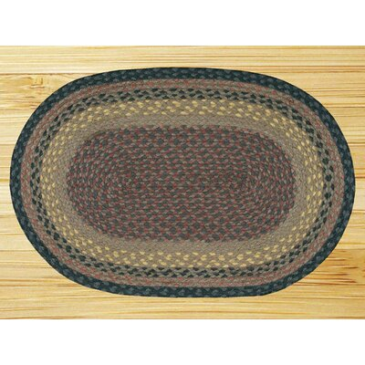 Braided Brown/Black Area Rug Rug Size: Oval 18 x 3
