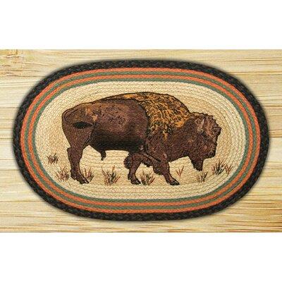 Buffalo Printed Area Rug Rug Size: Oval 18 x 26