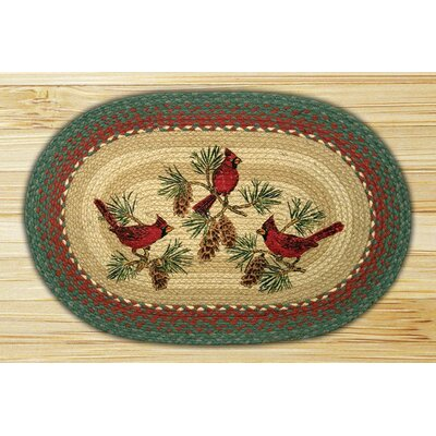 Cardinals Printed Area Rug Rug Size: Oval 18 x 26