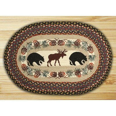 Bear/Moose Printed Area Rug Rug Size: Oval 18 x 26