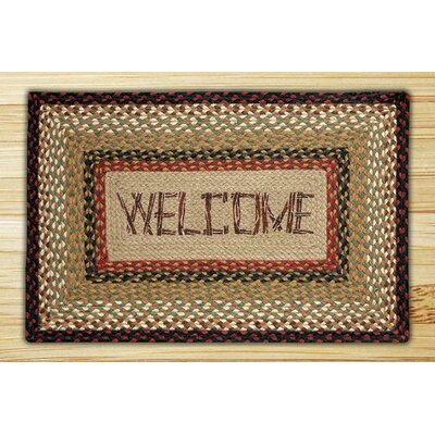 Welcome Rectangle Tan Patch Area Rug