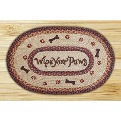 Wipe Your Paws Printed Area Rug Rug Size: Oval 18 x 26