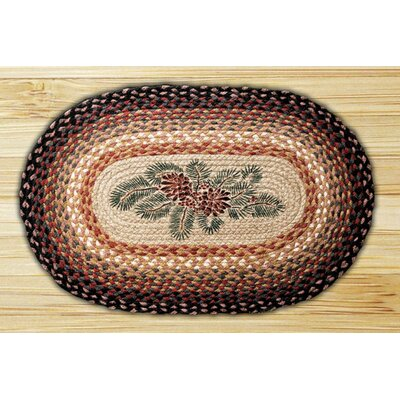 Pinecone Red Berry Printed Area Rug Rug Size: Oval 18 x 26