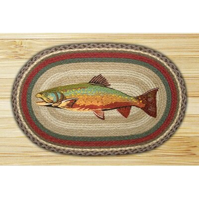 Trout Printed Area Rug Rug Size: Oval 18 x 26