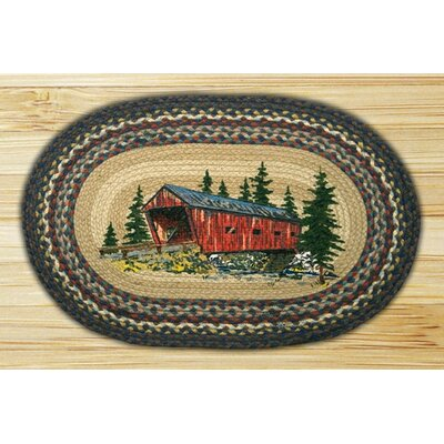 Covered Bridge Printed Area Rug Rug Size: Oval 18 x 26