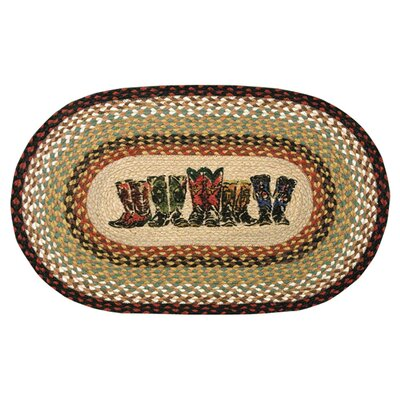 Boots Printed Area Rug Rug Size: Oval 18 x 26