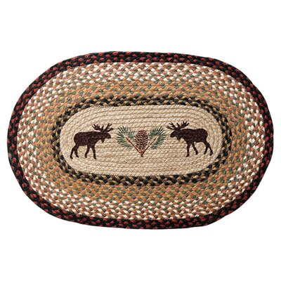 Moose/Pinecone Printed Area Rug Rug Size: Oval 18 x 26
