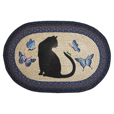 Cat/Grasshopper Printed Area Rug Rug Size: Oval 18 x 26