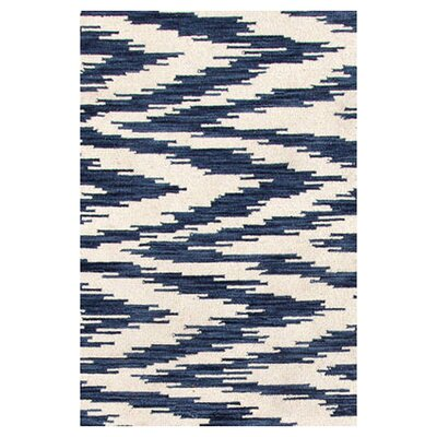 Hand Woven Blue/White Indoor Area Rug Rug Size: 8 x 10