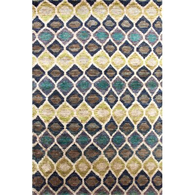 Prism Hand-Knotted Beige/Blue Area Rug Rug Size: 8 x 10