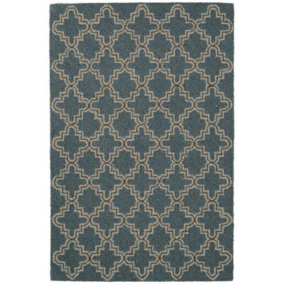 Plain Tin Hooked Blue/Brown Area Rug Rug Size: Rectangle 9' x 12'