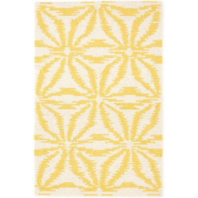 Aster Hooked Gold Area Rug Rug Size: Rectangle 6 x 9