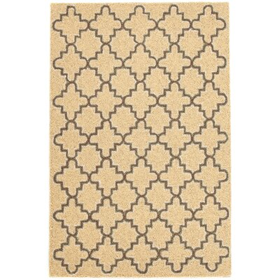 Plain Tin Hooked Gold Area Rug Rug Size: 2 x 3