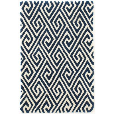 Fretwork Tufted Blue Area Rug Rug Size: Runner 26 x 8