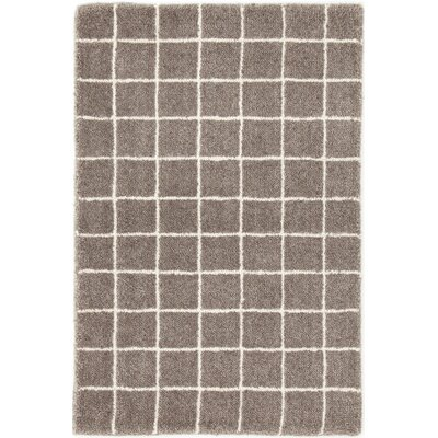 Grid Tufted Gray Area Rug Rug Size: Runner 26 x 8