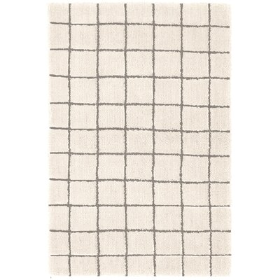 Grid Tufted White Area Rug