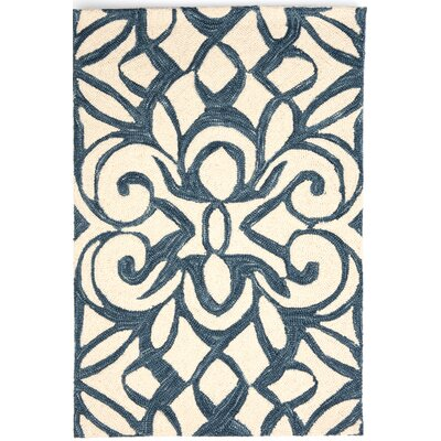 Hooked Blue/White Area Rug Rug Size: Rectangle 5 x 8