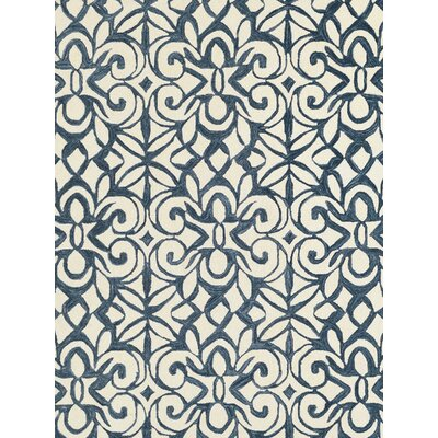 Hooked Blue/White Area Rug Rug Size: Rectangle 9 x 12