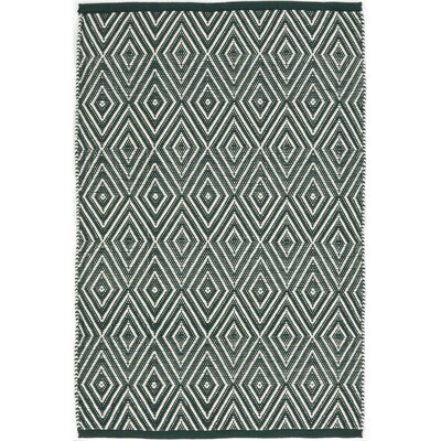 Hand Woven Green/White Indoor/Outdoor Area Rug Rug Size: 86 x 11
