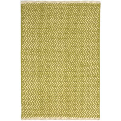 Herringbone Hand Woven Cotton Green Area Rug Rug Size: Runner 26 x 8