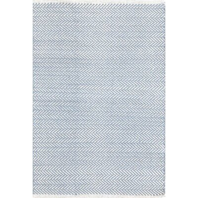 Herringbone Hand Woven Swedish Blue Area Rug Rug Size: 4 x 6